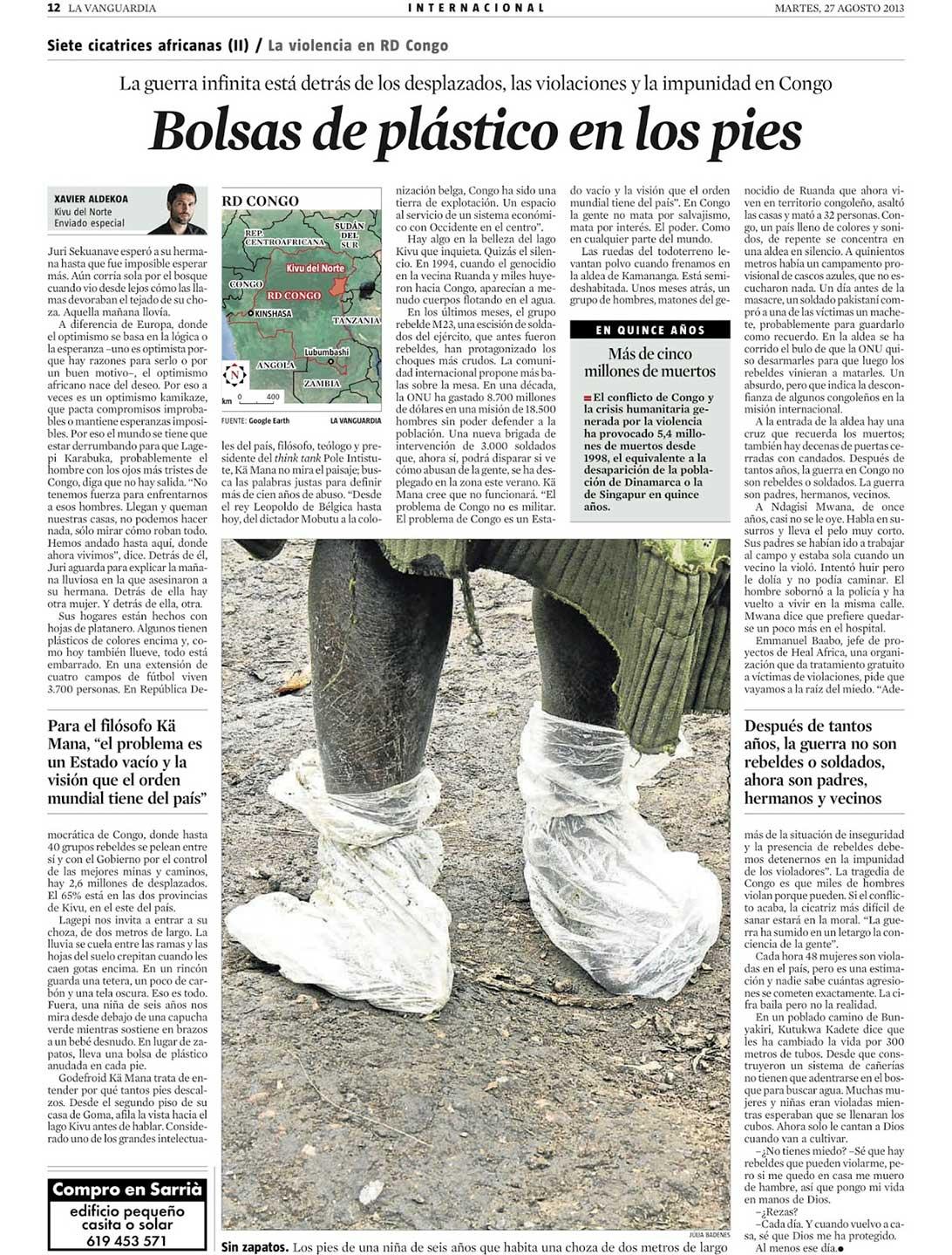 Bolsas de plástico en los pies